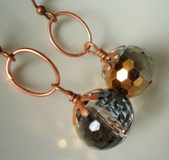 Crystal Earrings, Antique Copper Earrings, Dangle Earrings