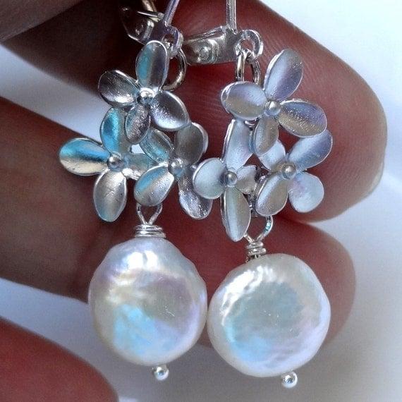 Coin Pearl Earrings, Silver Flower Earrings, Ivory Pearl Earrings, Bridesmaid Jewelry, Dangle Earrings