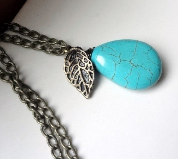 Turquoise  Necklace, Turquoise Drop Pendant