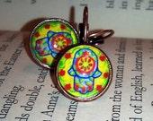 Pomegranate in Hamsa Judaica Small Round Dangling Earrings