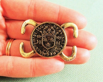 Crest Embellishmen t- Antique Gold Plated - Great for Altered Art Jewelry, Cuffs or Bracelets