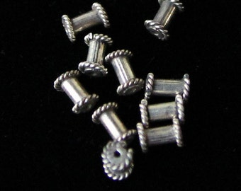 Bali Silver Oxidized Tube Beads - Set of 8 - Priced Under Wholesale