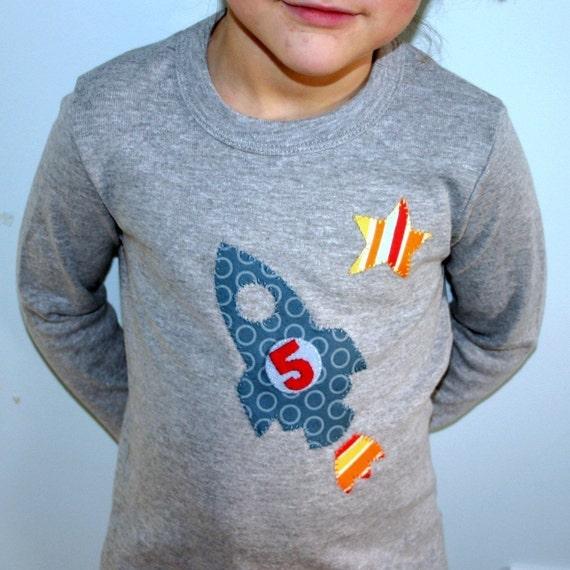 Rocket Custom Birthday Toddler and Kids T-shirt