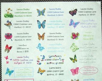 Handmade Address labels sheet of 30 butterflies GLITTERED