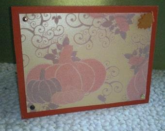 flocked pumpkins fall card