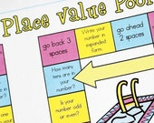 Place Value Pool Printable Math Game and Skill Sheet