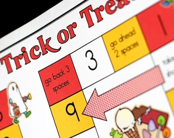 Trick or Treat Printable Halloween Math Game and Skill Sheet
