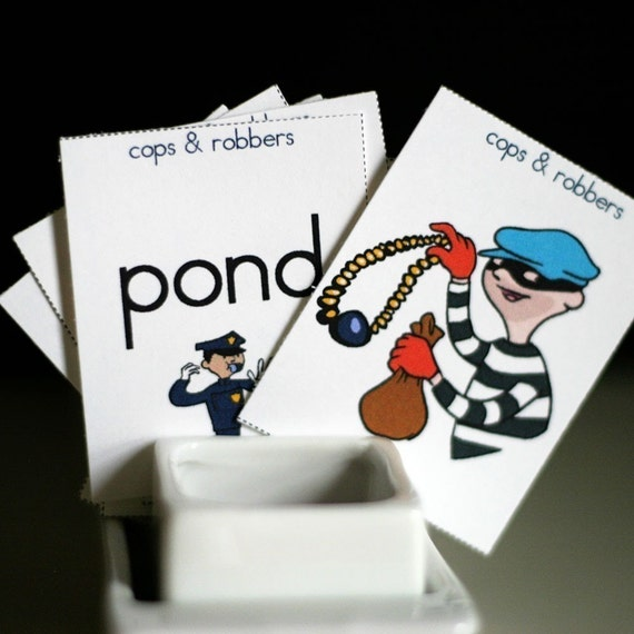 Cops and Robbers Printable Rhyming Game and Skill Sheet