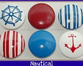Hand Painted Knob Dresser Drawer Nautical Red White and Blue Anchor Helm Stripes
