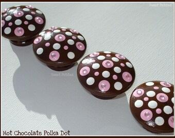 Hand Painted Knobs - Dresser Drawer - Pink Polka Dots - Rhinestones - Drawer Pulls - Rhinestone Knobs - Polka Dot Knobs - Kids Knobs