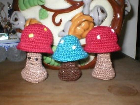 Fairy Garden Mushrooms for your Fairy Garden in Crochet
