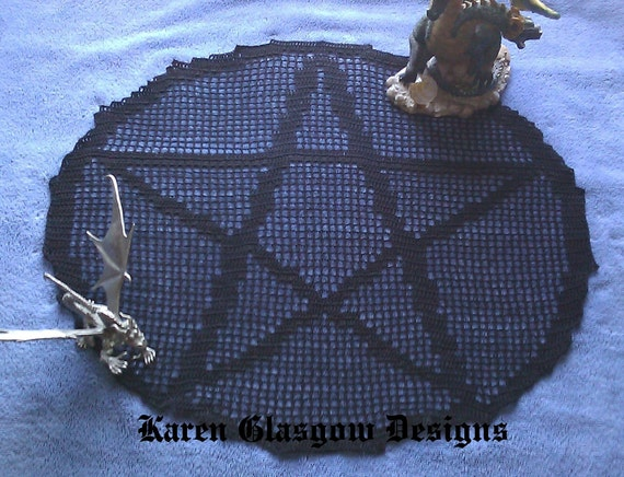 Wicca Pentacle Altar Doily Cloth in Black Crochet