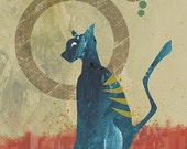 Cat Art Print - Contemplation - 8x10