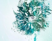 Abstract Flower Art Print - Open Up (icewater) - 8x10 - Blue