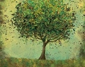 24x36 Fine Art Print - Welcome Change (rustic green) - 24x36 LARGE Print - Modern Tree Art