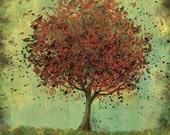 Fall Tree Art - Welcome Change (rustic green and burnt orange) - 8x10 Print