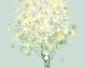 Modern Tree Art - Yellow Green - Lemon Bubble Tree Illustration - 8x10 Print - Lemon Tree