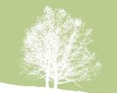 Tree art Landscape art - 8x10 Print - Side by Side (green)