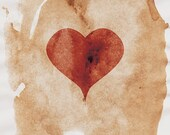 Heart Art Print - 8x10 - Red and Brown - Rustic Heart Wall Art - Red Heart Print - Watercolor