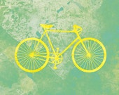 Bicycle Art (yellow and green) - 12x18 Print