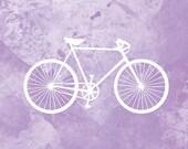 Bicycle Artwork - (purple and white) - 8x10 Print