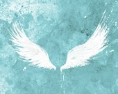 White Wings (turquoise) - 12x18