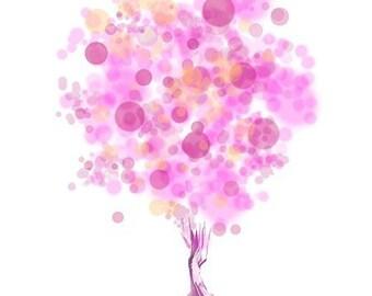 Modern Tree Art - Strawberry Bubblegum Tree - 8x10 Print