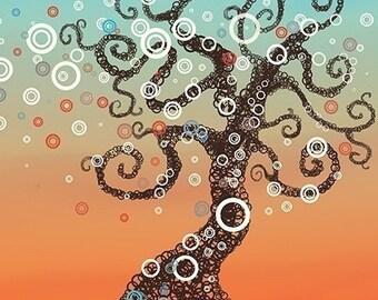 Tree Art Print - Like it Used to Be - 8x10 - Orange