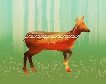 Deer Art Print - Morning in the Forest - 12x18 - woodland modern art