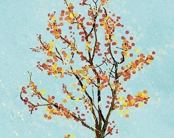 Tree Blossoms Art - Dancer in the Dark (blue) - 8x10 Print - Orange Blue Modern