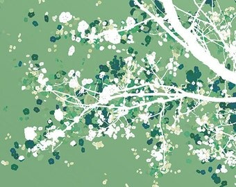 Tree Branches Blossoms Art - Carefree Days (green) - 8x10