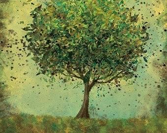 Welcome Change (rustic green) - 12x18 Art Print Wall Decor Modern Woodland