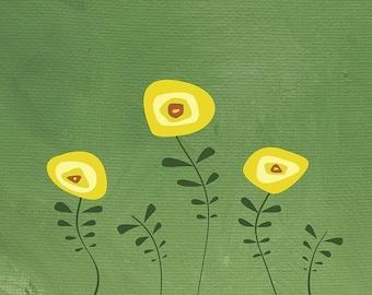Flower Art yellow green - 8x10 Print - Gardenwork