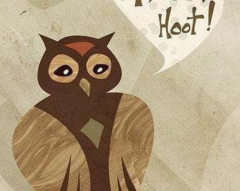 Owl Art - Hoot Hoot - 8x10 Print
