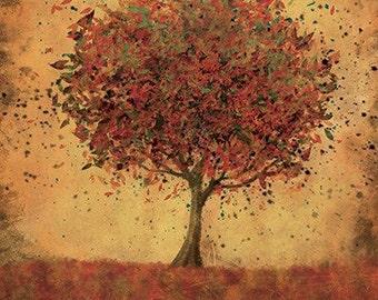 Autumn Tree Modern Wall Art - Welcome Change (burnt orange) - 24x36 LARGE Home Decor Print