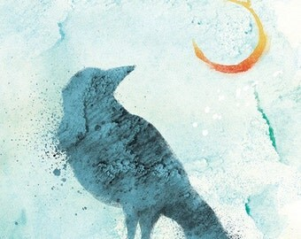 Raven Art Print - 24x36 LARGE - Call of the Moon - Blue
