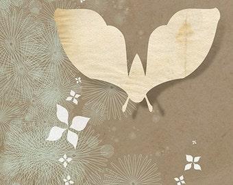 Moth Art - 8x10 Print - Paper Moth - earth tones collage illustration