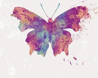 Butterfly Art - Jordy - Butterflies and Moths Series - 8x10 Print - Purple Blue Texture Contemporary Modern