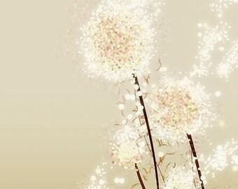 Dandelion Art - Perennial Moment (gold) - 8x10 Print - Modern Flowers Home Decor