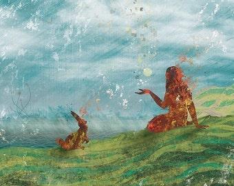 Girl Bunny art - Storytelling - 8x10 Print