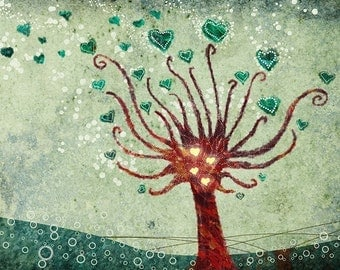 Tree with Hearts Artwork Print - Love Blooms - 8x10