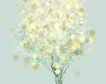 Modern Tree Art - Yellow Green - Lemon Bubble Tree Illustration - 8x10 Print - Lemon Tree