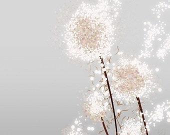 Dandelion Art Print - Perennial Moment (silver) - 8x10 - Modern Flower art