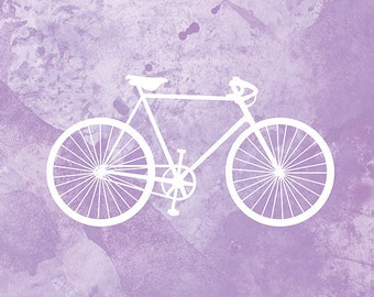 Bicycle Artwork - (purple and white) - 8x10 Print