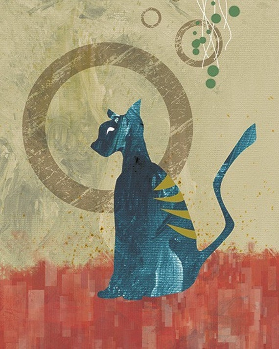 Cat Art Print - Contemplation - 8x10