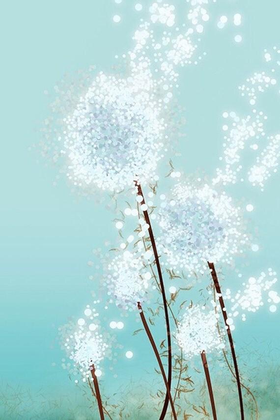 Dandelion Art - Perennial Moment (aqua) - 24x36 LARGE Print - Blue Floral Art