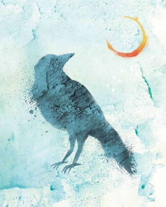 Raven Art Moon Print - Call of the Moon - 8x10 Print