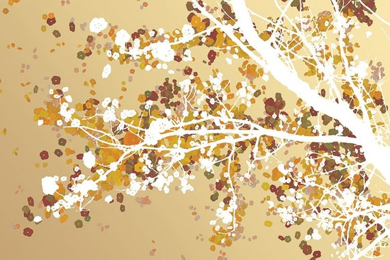 Tree Blossoms Art - Carefree Days (gold) - 24x36 LARGE Print