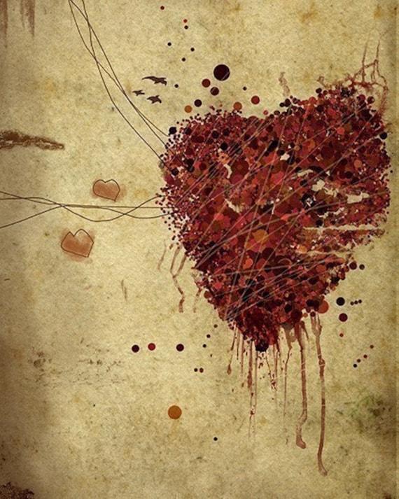 Heart Art - 8x10 Print - Easily Broken - Bloody heart - Red Brown