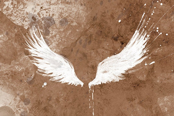 White Wings Art Large Fine Art Print - 24x36 - Available in Brown, Turquoise, Dusky Pink, Grey and Charcoal